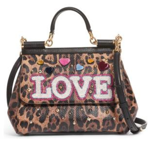 Dolce & Gabbana Leopard LOVE Patch Sicily Bag