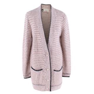 Lanvin Pink Angora Blend Knit Longline Cardigan