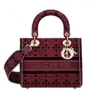 Dior Burgundy Velvet Medium Lady D-Lite Bag