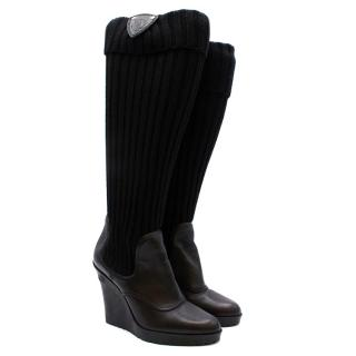 Gucci Black Leather & Knit Wedge Boots