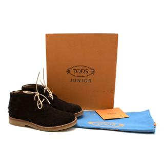 Tods Junior Brown Suede Desert Ankle Boots