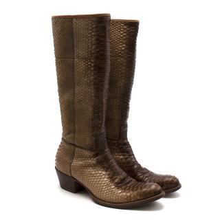 Prada Natural Snakeskin Western Inspired Boots