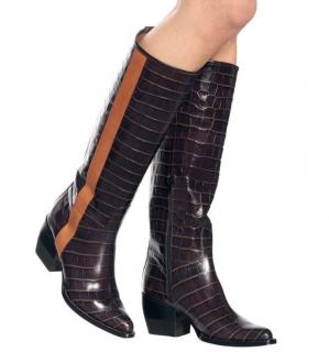 Chloe Runway Brown Croc Effect Vinny Boots