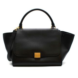 Celine by Phoebe Philo Black Leather Trapeze Bag