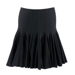 Alaia Black Flared Pleated Mini Skirt