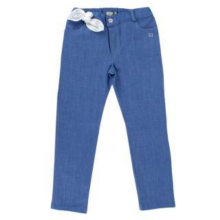 Jo Milano 6Y Blue Bow Applique Crystal Embellished Jeans