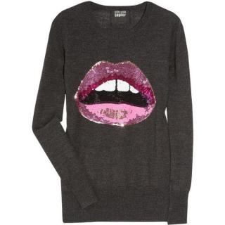Markus Lupfer Grey Merino Wool Lara Sequin Lips Jumper