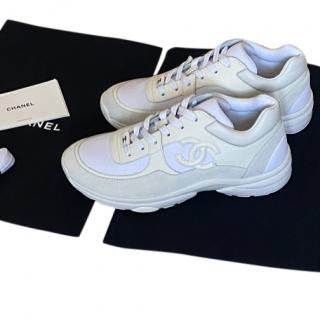 Chanel triple white sneakers
