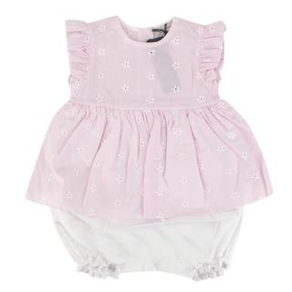 Jo Milano Pink & White Romper with Floral Embroidery