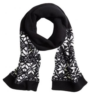 Brooks Brothers Kids' Wool Blend Black/ White Fair Isle Scarf