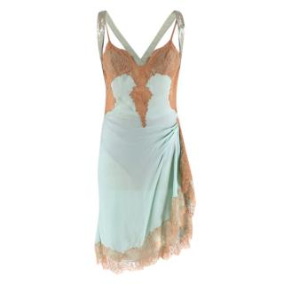 Gianni Versace Couture Vintage Mint Green Silk & Lace Slip Dress