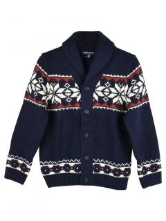 Brooks Brothers Kids Navy Fairisle Knit Cardigan