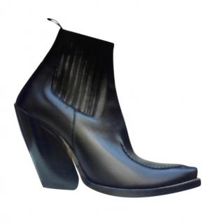 Celine Phoebe Philo black leather Santiag boots