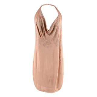 Christian Dior Vintage  Blush Silk Beaded Mini Dress