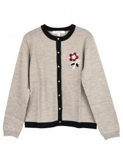 Brooks Brothers Girls Embroidered Oat/Black Merino Wool Cardigan