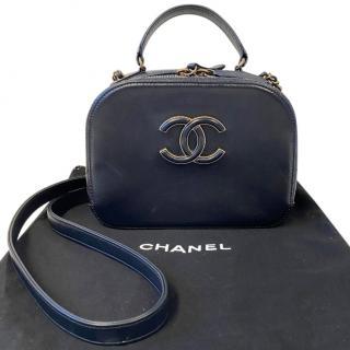 Chanel navy blue leather mini top handle/shoulder bag