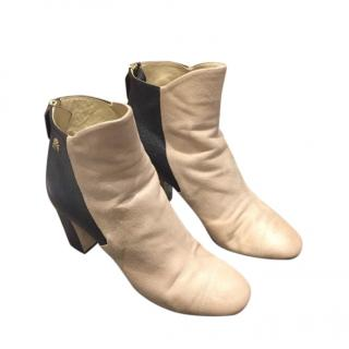 Chanel beige leather ankle boots