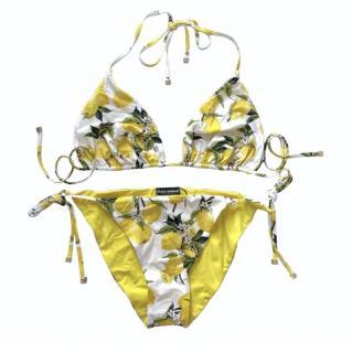 Dolce & Gabbana Lemon Print String Bikini
