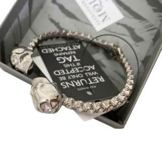 Alexander McQueen crystal embellished twin skull bracelet