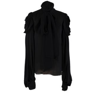 Balmain Vintage Black Silk Draped Long Sleeve Top