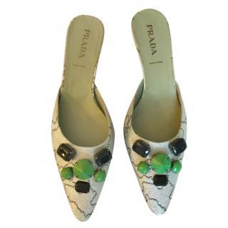 Prada Jacquard Embellished Mules