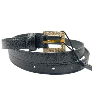 Dolce & Gabbana embellished buckle black leather belt