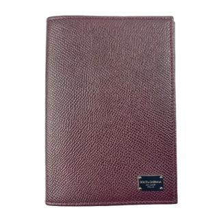 Dolce & Gabbana burgundy leather logo passport holder
