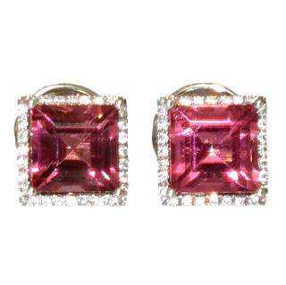 William & Son Diamond and Pink Tourmaline earrings 9x9mm