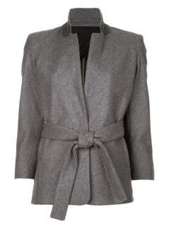 Acne grey wool self tie waist jacket