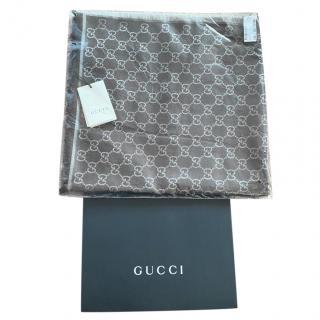Gucci brown logo wool and silk blend scarf/shawl