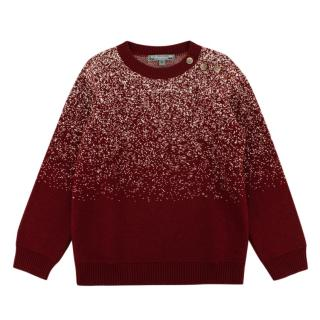 Bonpoint Red Wool Buttoned Sweater