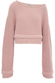 T by Alexander Wang cropped ribbed cotton blend pink jumper