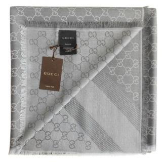 Gucci grey wool and silk GG scarf/shawl