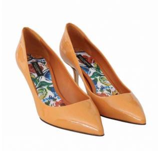 Dolce & Gabbana ornate patent low heeled pumps