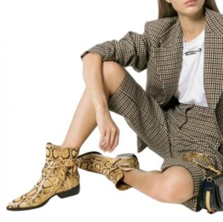 Chloe Yellow Rylee 30 snake effect ankle boots