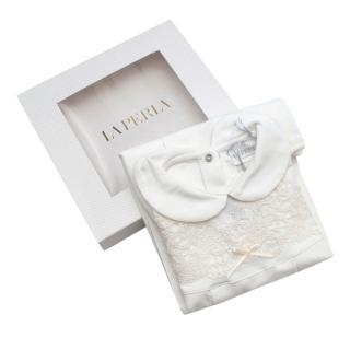 La Perla Ivory Soft Cotton Blend Lace Embroidered Romper