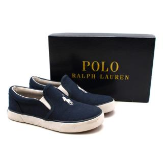 Polo Ralph Lauren Navy Canvas Pony Logo Trainers
