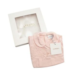 La Perla Pink Soft Cotton Blend Lace Embroidered Romper