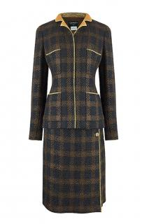 Chanel vintage check tweed skirt suit with gold trim