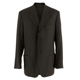 Corneliani Brown/Grey Wool & Cashmere Single Breasted Blazer