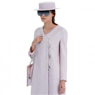 Chanel pastel pink tweed skirt and coat ensemble Airlines Collection