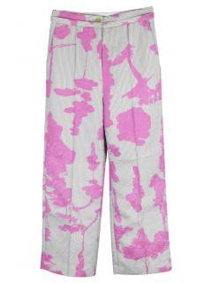 Chalayan Pink Tree Print Wide Leg Trouser