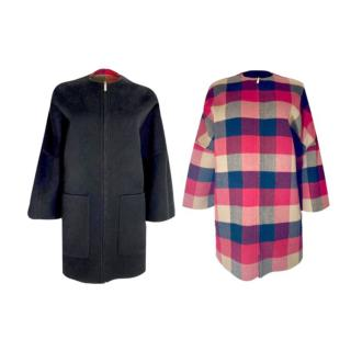 Carolina Herrera Plaid/Black Wool Reversible Coat