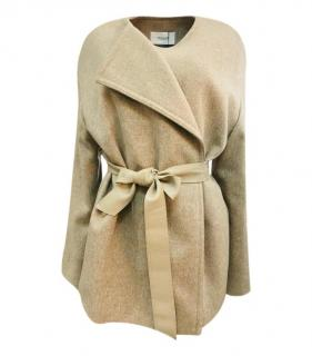 Pringle Wool & Cashmere Leather Belted Wrap Coat