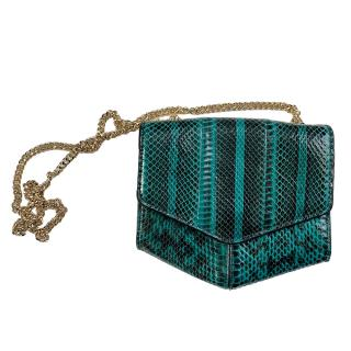 Sandro Teal Snake Print Crossbody Bag