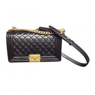 Chanel Black Lambskin Quilted Boy Bag GHW