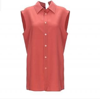 Marni brick red sleeveless silk top