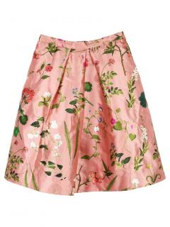 Oscar de la Renta Kids 12Y Floral Print Silk Blend Skirt