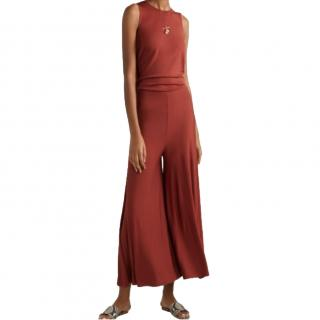By Malene Birger Brick Red Backless Jersey Jumpsuit