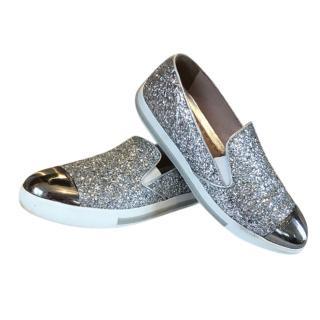 Miu Miu Silver Glitter Slip-Ons